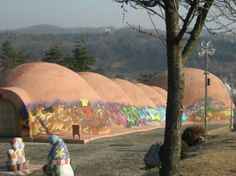 Icheon World Ceramics Center: huge kiln.  The Icheon Ceramics Village features 300-plus ceramics-making firms in the area of Sugwang-ri, Sindun-myeon, Saeum-dong. They use traditional skills and produce porcelains in some 40 traditional firewood kilns.  South Korea