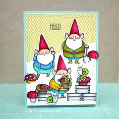 Birdie Brown You Gnome Me and Hog Heaven stamp sets and Wonky Stitched Rectangle STAX Die-namics - Ria Montefalcon #mftstamps