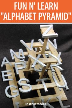 This 3D printed alphabet pyramid is a great puzzle for toddlers learning to recognize their letters. #Instructables #3Dprint #toy #game #kids Puzzles For Toddlers, Activities For Adults, Alphabet Wall, Learning The Alphabet, Toddler Learning, Lego Brick, Jigsaw Puzzles, 3d Printing, Toy