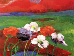 Emil Nolde, Poppies and Red Evening Clouds on ArtStack #emil-nolde #art