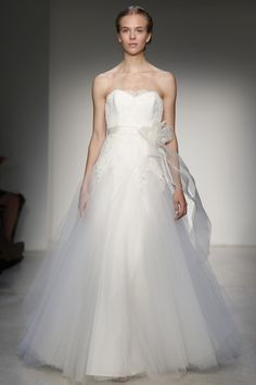 Christos - Bridal Fall 2013    TAGS:Floor-length, Strapless, White, Ivory, Christos, Lace, Silk, Tulle, Elegant, Retro (Vintage), Romantic
