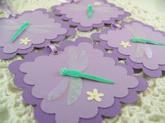 Beau Purple Dragonfly Gift Tags Baby Shower Wedding Bridal Shower Tags Set Of 4