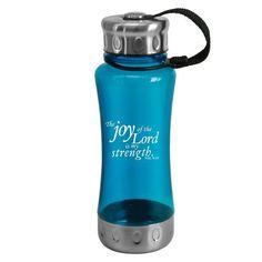 Nehemiah 8:10 Aqua Plastic / Stainless Water Bottle  Price : $5.99 http://www.veritasgifts.com/Nehemiah-Plastic-Stainless-Water-Bottle/dp/B007MD4QZ8