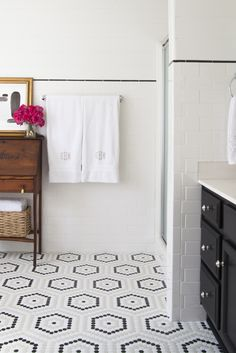 bathroom hex tiles: http://www.homedepot.com/p/Merola-Tile-Metro-Hex-Matte-White-10-1-4-in-x-11-3-4-in-x-5-mm-Porcelain-Mosaic-Floor-and-Wall-Tile-8-54-sq-ft-case-FDXMHMW/202647811
