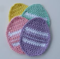 Make these Easter Crochet Coasters today for the festival with these Free Crochet Patterns of Easter Egg Coaster, Easter Bunny Coaster, and Easter Basket Coaster. Make this Easter Colourfull and cheerful with your personal touch. Easter Egg Pattern, Easter Crochet Patterns, Crochet Motifs, Crochet Stitches, Doily Patterns, Doilies Crochet, Crochet Appliques, Dress Patterns, Holiday Crochet