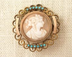 Antique Victorian Gold Fill Shell Cameo Brooch by MindiLynJewelry Victorian Gold, Victorian Era, Antique Gold, Seed Beads, Shells, Vintage Jewelry, Brooch, Brass, Turquoise