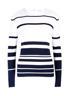 Pull-over à encolure ronde bleu marine/blanc Elégance de la Boutique Elegance Paris prix 79,00 € TTC au lieu de 159 €