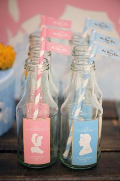 Cinderella and her prince both made an appearance on custom-designed glass drink bottles and straws. Source: Keren Precel Events