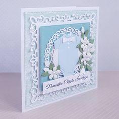 Brak dostępnego opisu zdjęcia. Magnolia Wedding, Shabby Chic Cards, Explosion Box, Baby Cards, Cute Cards, Christening, Quilling, Making Ideas, Notebooks