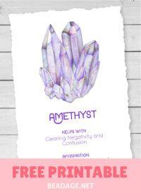Amethyst Free Printable Gemstone Properties Card #gemstones #crystals