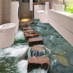 Custom Photo Floor 3D Wallpaper Modern Art  river stones Bathroom Floor Mural-3d PVC Wallpaper Self-adhesive Floor Wallpaper-3d