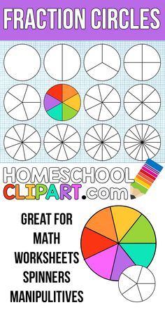 Free Fraction Circles! Make your own printable fraction circles, create worksheets, games, and more with free teaching clipart at HomeschoolClipart.com
