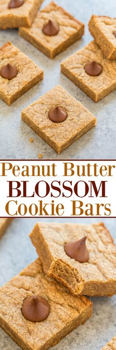 Peanut Butter Blossom Cookie Bars - Like the classic cookies except much FASTER and EASIER to make!! One bowl and no mixer! Soft and chewy with rich peanut butter flavor and each piece is topped with a Kiss!!