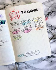 Here's my TV show collection, 'cause who doesn't love TV? #bujo #bujojunkies #bujoinspire #leuchtturm1917 #bulletjournal #bujolover Inspo: @creative.pine.apple