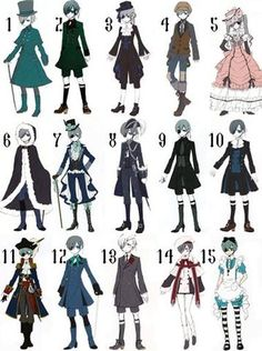 ciel phantomhive outfits - Google Search