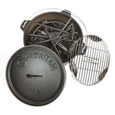 """Combo Set Lid Lifter/Flip Grill/Charcoal/Wood Holder Heat Source/KickStand and 12"""" Oven"""