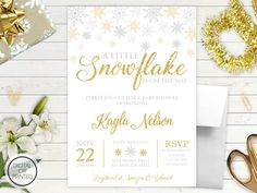 Snowflake Baby Shower Invitation  Winter Baby by GreatOwlCreations
