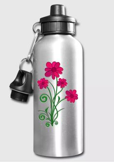 """Red Flowers Four"" water bottle. Made of aluminum and plastic. Passes CPSIA testing guidelines for BPA-free. Capacity 20 ounces/591 ml. Equipped with fastening clip. Not for carbonated beverages. Do not microwave or freeze. Not for dishwasher."