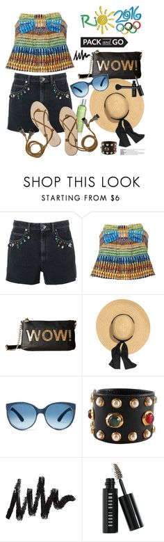 """""""Pack and Go: Rio"""" by hamaly ❤ liked on Polyvore featuring Sonia Rykiel, Saloni, Betsey Johnson, Loeffler Randall, Chanel, Bobbi Brown Cosmetics, NARS Cosmetics, ootd, denimshorts and rio"""