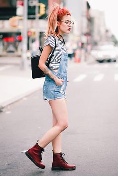 Le Happy wearing red Dr Martens Newton and ASOS overalls Fashion Vintage 70b0b2bcf9