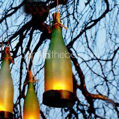 Botella de vidrio solar luz mbar jard n decoraci n l mparas - Lamparas de jardin ...