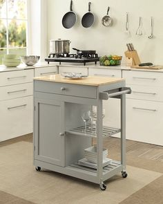 Oliver and Smith – Nashville Collection – Mobile Kitchen Island Cart on Whee. Oliver and Smith – Nashville Collection – Mobile Kitchen Island Cart on Wheels – Wooden Grey – Natural Oak Butcher Block – W x L x H Mobile Kitchen Island, Rolling Kitchen Island, Kitchen Island On Wheels, Kitchen Trolley, Kitchen Island Decor, Modern Kitchen Island, Diy Kitchen, Kitchen Layout, Kitchen Dining