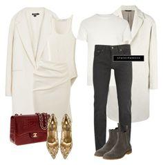 Untitled #752 by vanessa-antar on Polyvore featuring polyvore fashion style DKNY Lanvin Uniqlo Dolce&Gabbana Chanel Hevò Levi's River Island Bottega Veneta clothing