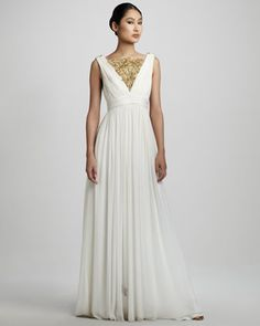 Embroidered Grecian Gown by Notte by Marchesa at Neiman Marcus.
