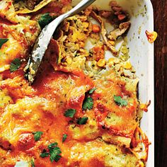 This Tex-Mex chicken enchilada casserole by Cooking Light is a delicious dinner option when you're craving Southwestern-style comfort food. 378 Calories per serving. Cooking Light Recipes, Healthy Cooking, Healthy Recipes, Cooking Tips, Casseroles Healthy, Cooking Lamb, Cooking Pasta, Cooking Food, Healthy Options