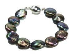 Josephine - Iridescent Black Coin Pearl Bracelet