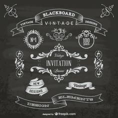 Elementos gráficos vintage en pizarra