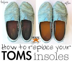 How to replace the insoles of your favorite shoes.  Step by step tutorial.  Please repin to share with all your friends and followers. #shoes #toms #insoles #tutorial