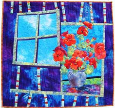Potted Geranium by Mary Transom - Quilt Artist (New Zealand)