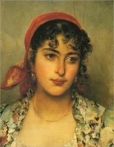 Eugene de Blaas (Italian-Austrian,1843-1932) - The gipsy girl