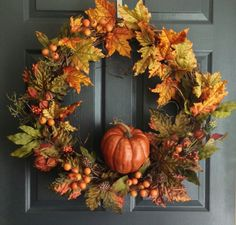 Autumn Harvest Wreath Pumpkin Wreath Fall by HomeHearthGarden, $132.00