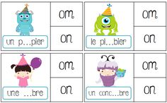 Jeu de pince sur les sons : discrimination des sons en CP ou CE1 : on om in im… Cycle 3, Phonemic Awareness, Letter Sounds, Home Schooling, Homeschool Curriculum, Kids Learning, Montessori, Classroom, Teaching