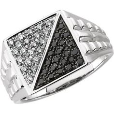 69174 / 14kt White / 1/2 CT TW / Polished / GENTS BLACK & WHITE DIA RING