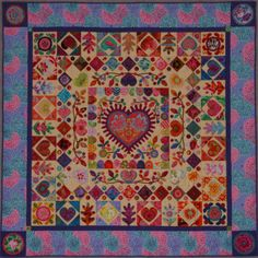 """Hearts and Flowers"" this quilt was made for Kaffe Fassett "" Quilt Romance"", the pattern is included. If you haven't seen the book, it is a gorgeous one"
