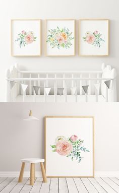 ☆ A Beautiful Nursery Decor Set of 3 Watercolor Flowers for Your Little Girl.