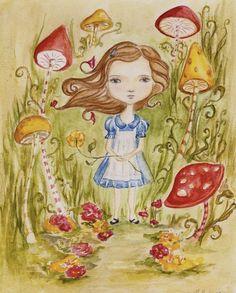 Original painting Alice in Wonderland 8x10 by darklingwoods