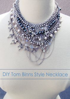 Tom Binns Inspired Chunky Necklace DIY.  Here's What You'll Need... variety of vintage necklaces {find them at thrifts, etc.) * Chain * Transparent nylon thread or jewelry wire * Safety pins {optional} * Needle nose pliers {or beading pliers}  Great Tutorial w/pictures.