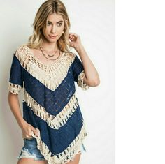 Navy Boho Top 1 small left! Tops