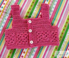 (Crochet)     I made this cotton dress for the daughter of a friend…   Hace poco hice este vestido para la hija de una amiga…              ...