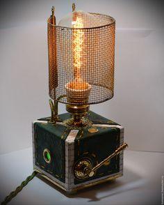 Купить Настольная лампа в АРАБСКОМ СТИЛЕ, с диммером и Эдисон лампой - бордовый, латунь, стимпанк