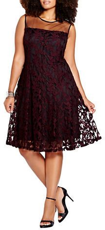 Plus Size Lace Fit-and-Flare Dress