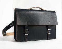 "Handmade 14"" Leather Messenger Bag - Thick Veg-Tan Leather in Black. $250.00, via Etsy."