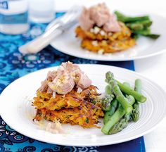 Sweet potato fritters with tuna - Healthy Food Guide Sweet Potato Recipes Healthy, Healthy Recipes, Healthy Food, Sweet Potato Fritters, Lunch, Meals, Dinner, Cooking, Ethnic Recipes