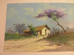 REINALDO MANZKE LISTED VINTAGE 1940'S ISLAND BEACH HOUSE PAINTING  #Impressionism