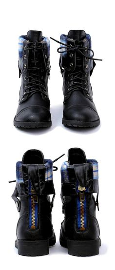 Brandon Boot - lace up / folded over ( with plaid printed fleece lining )