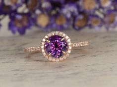 Amethyst engagement ring with diamond,Solid 14k Rose gold,halo classic design,promise ring,bridal,7mm round custom made fine jewelry - BBBGEM